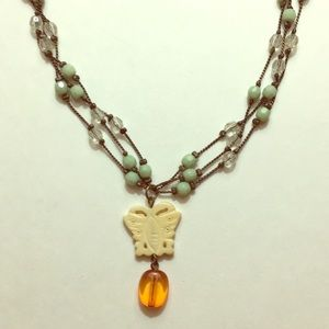 """Beaded necklace butterfly pendant fashion 16"""""""